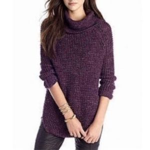 Free People Dylan Tweedy Chunky Knit Turtleneck Sw